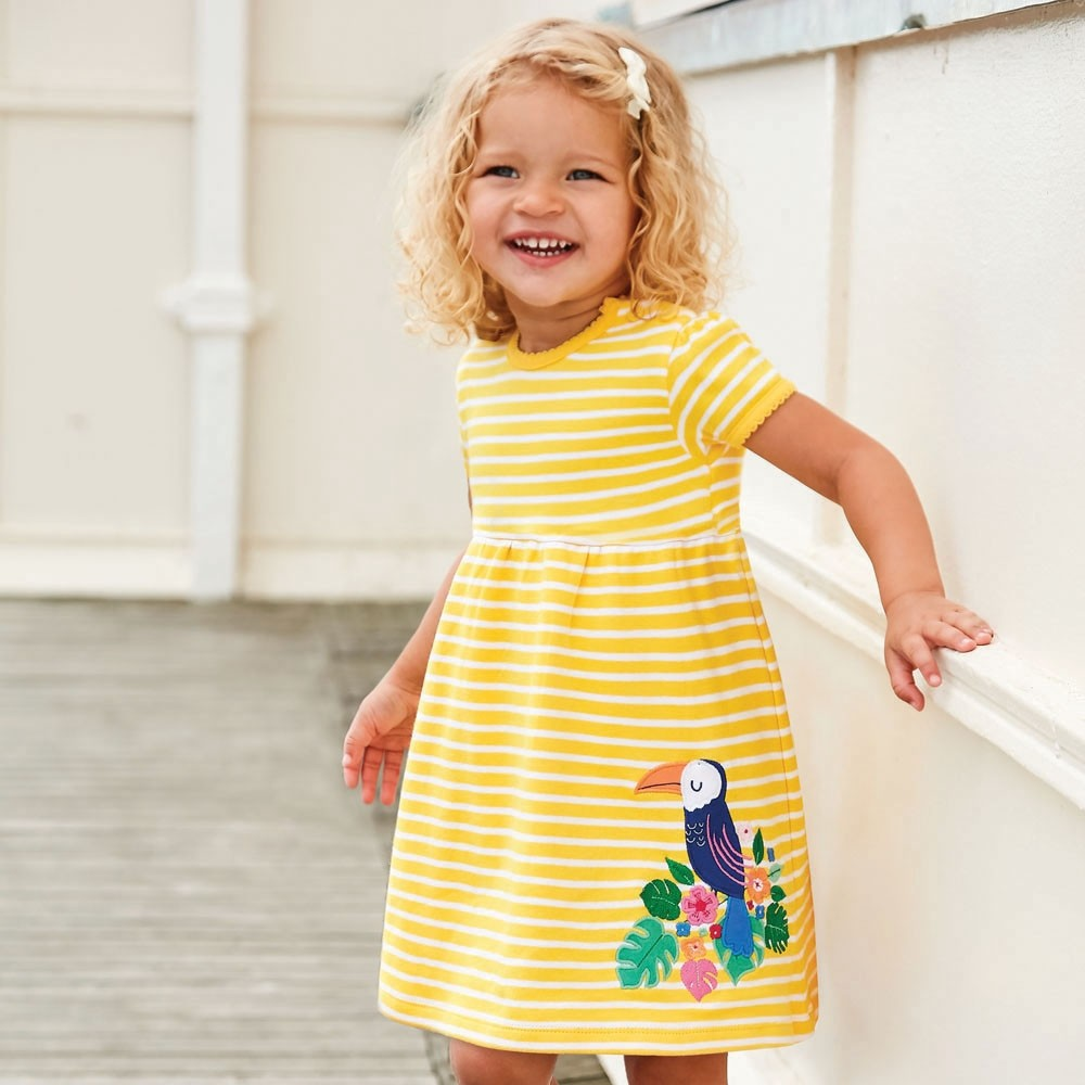 Girls' Toucan Appliqué Dress