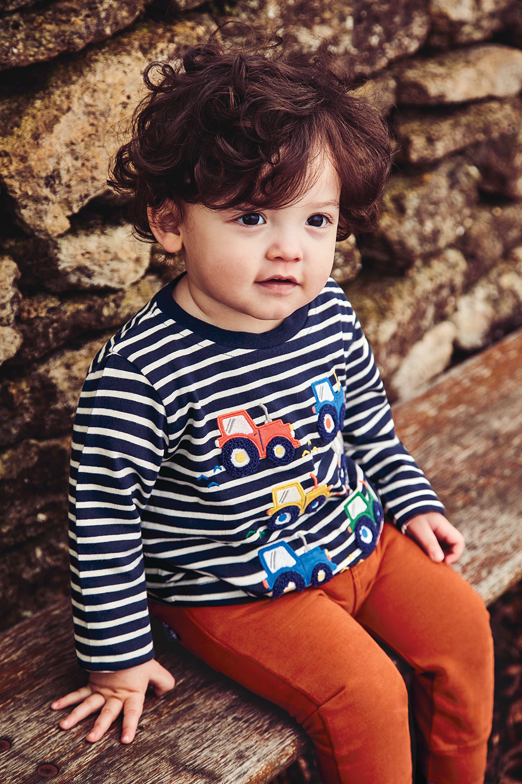 Kids' Tractor Appliqué Striped Top