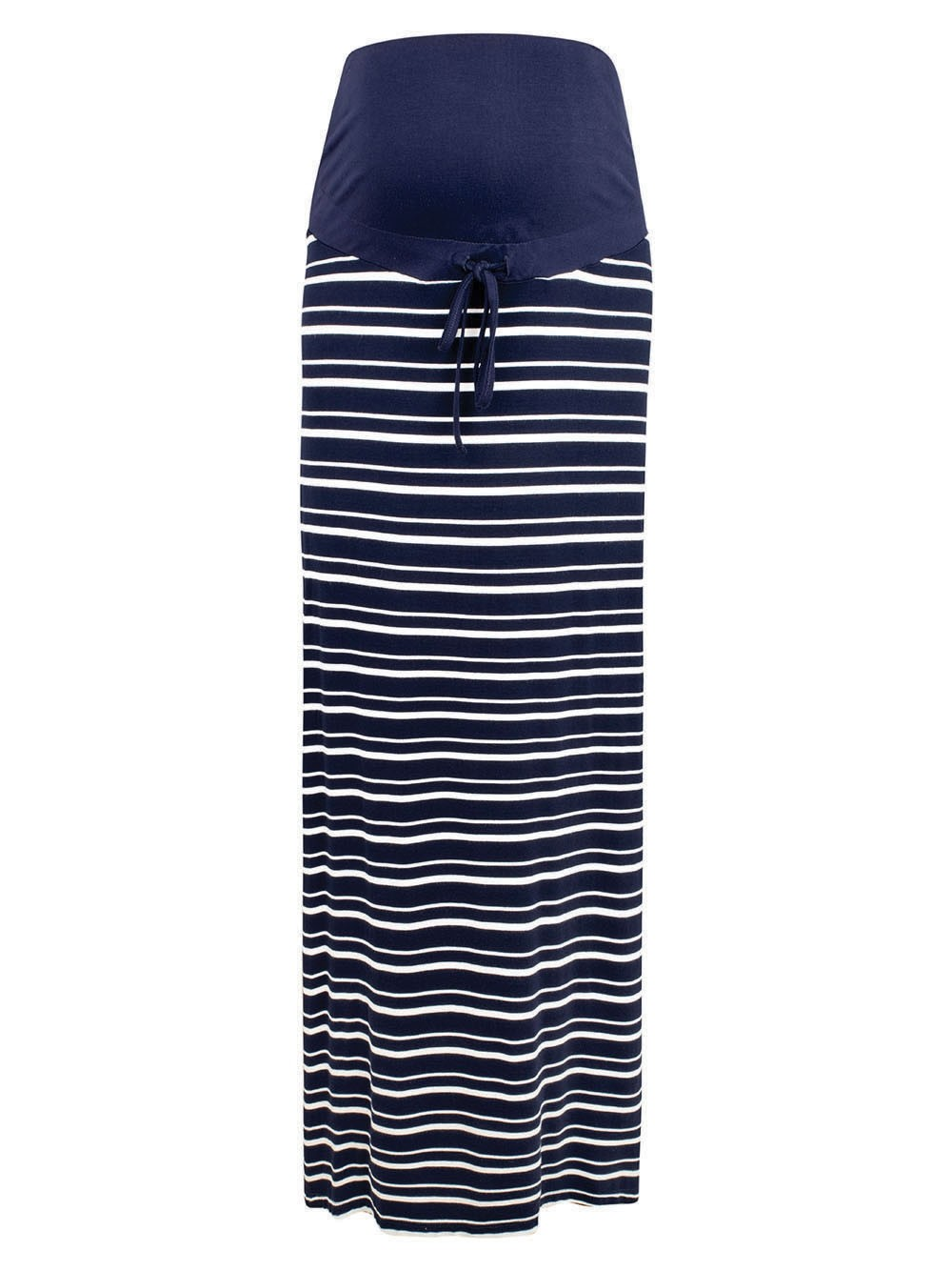Navy Stripe Maternity Maxi Skirt