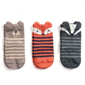 3-Pack Woodland Animal Cotton Socks