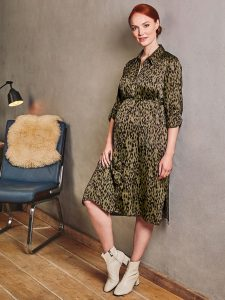 Khaki Animal Print Maternity Shirt Dress