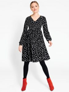 Black Dot Shirred Maternity Dress