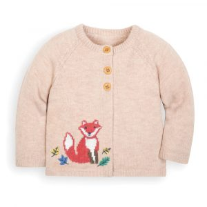 Girls' Oatmeal Fox Cardigan