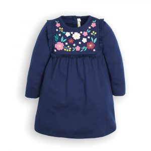 Girls' Navy Floral Embroidered Jersey Dress