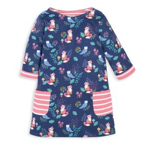 Girls' Navy Fox A-Line Dress