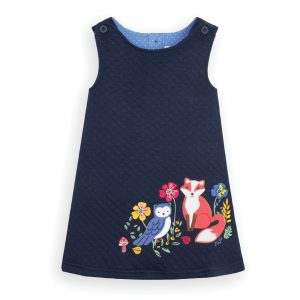 Girls' Navy Fox Quilted Dress