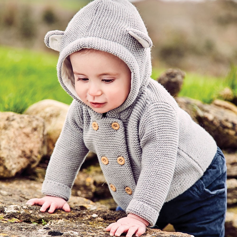 Bear Hooded Cardigan