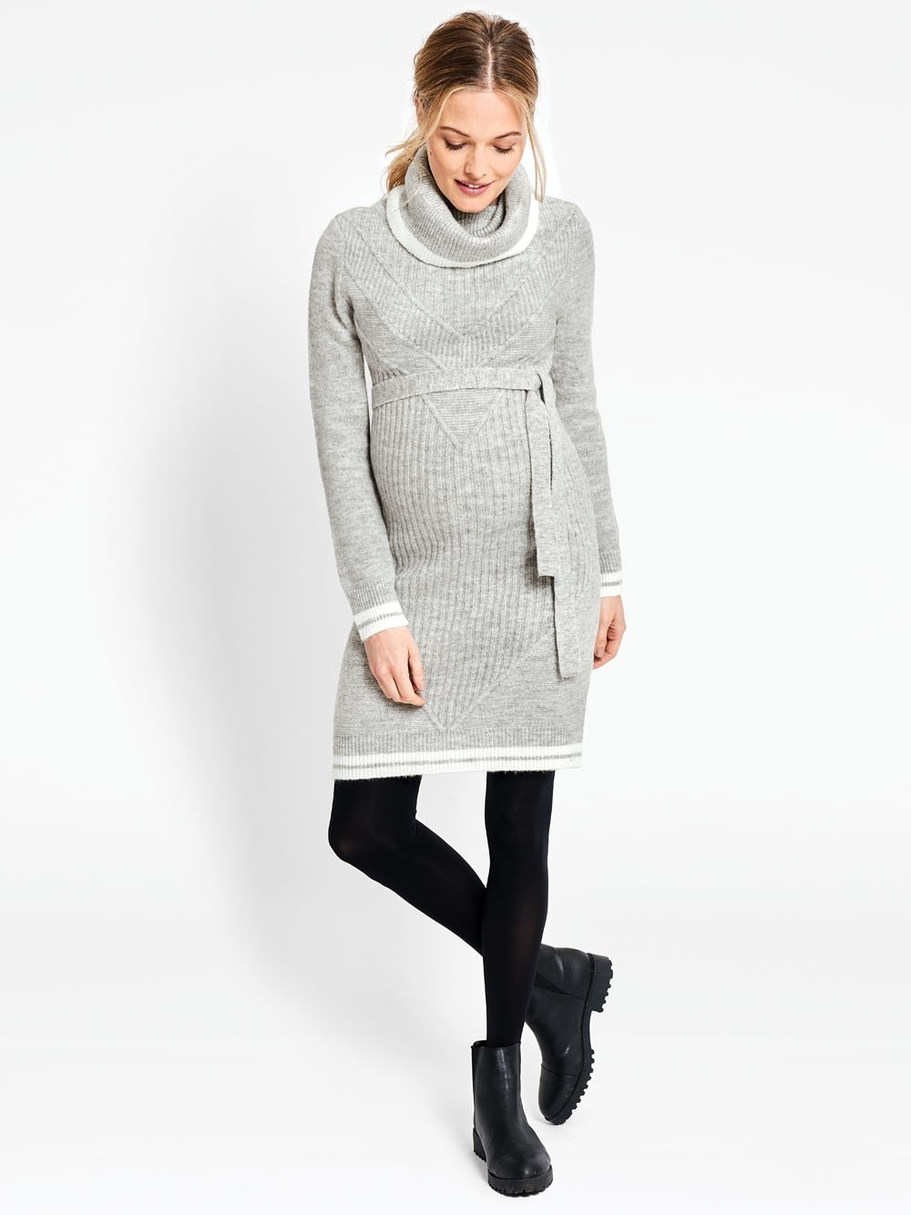 Marl Gray Roll Neck Maternity Sweater Dress